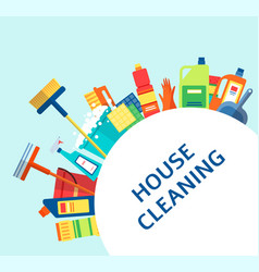House cleaning banner - colorful housework vector