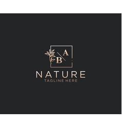 Initial ab letters beautiful floral feminine vector
