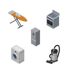Isometric electronics set of cloth iron vac vector