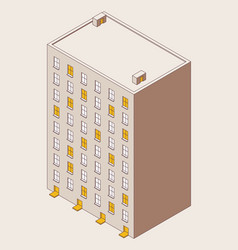 isometric outline multy storey building isolated vector image