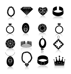 Jewelry icon set black vector image