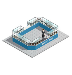 Jewelry shop isometric interior with seller vector