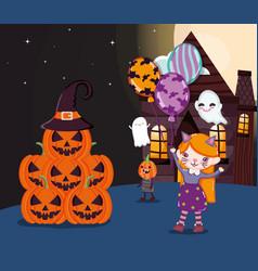 kids with costume halloween image vector image