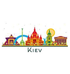 Kiev ukraine city skyline with color buildings vector
