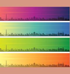 Lahore multiple color gradient skyline banner vector