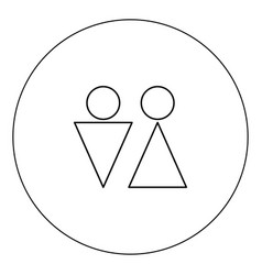 man and woman icon black color in circle isolated vector image