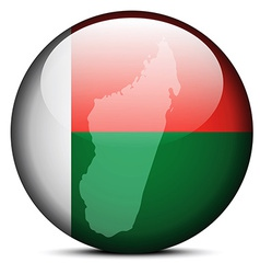 Map on flag button of Madagascar vector image