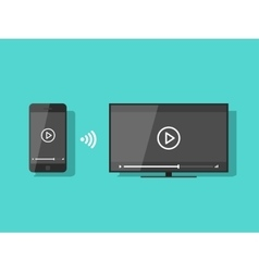 Mobile phone connected to TV streaming video vector image