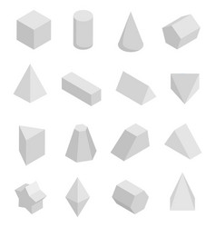 Monochrome prisms set isolated on white backdrop vector