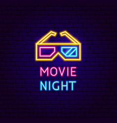movie night neon label vector image
