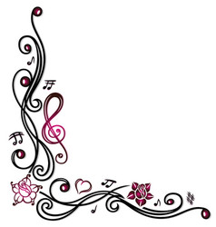Music notes clef and flowers vector