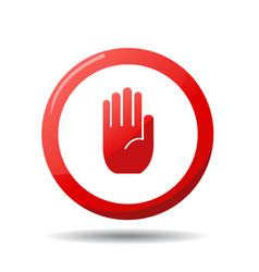 no entry hand sign on white background vector image