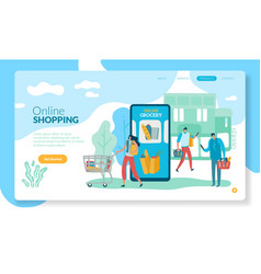 online grocery landing internet retail purchase vector image