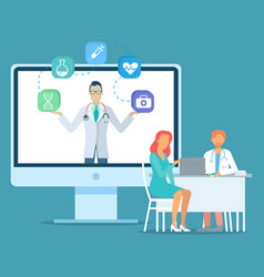 patient with doctor sitting at table using laptop vector image