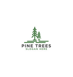 pine tree line art logo design template vector image