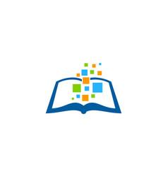 pixel art book logo icon design vector image