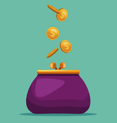 Purse with coins vector