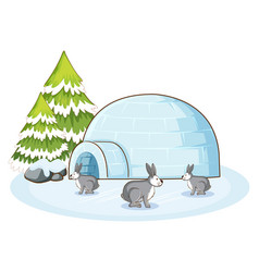 rabbits in winter time vector image