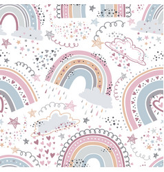 rainbow seamless pattern cartoon rainbows with vector image