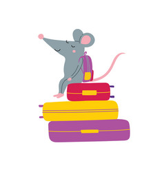 Rat sitting on suitcases vector