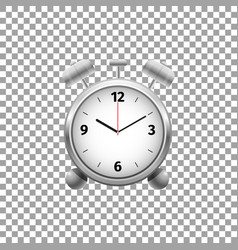 realistic classic silver alarm clock isolated vector image