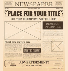 Retro newspaper with old vector