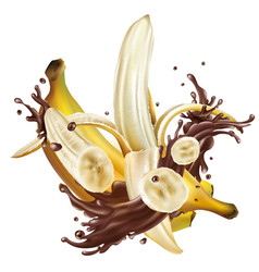 ripe bananas and splashes liquid chocolate vector image