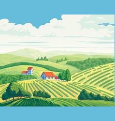 Rural summer landscape with hills and village vector