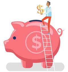 saving money man puts golden dollar sign in piggy vector image