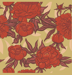 seamless pattern red peonies on a green vector image