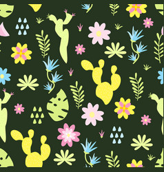 seamless pattern with cactus flowers vector image