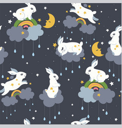 seamless pattern with cute rabbits and clouds vector image