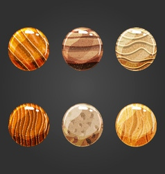 Set of round volume sand buttons vector