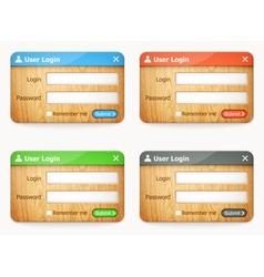 Set wooden login forms vector