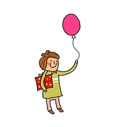 Side view of boy holding balloon vector