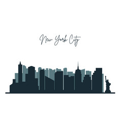 silhouette new york city nyc urban skyline vector image