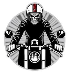 skull ride a motorbike vector image