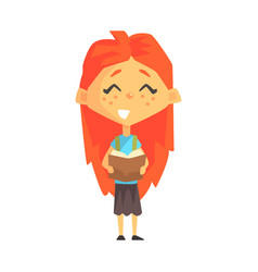 Smiling redhead girl reading a book primary vector