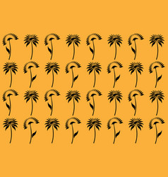 Stylized black sunflowers on yellow background vector