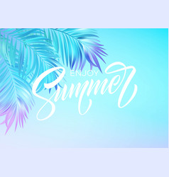 summer lettering design in a colorful blue and vector image