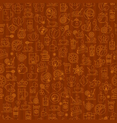 tea seamless background with thin line icons vector image