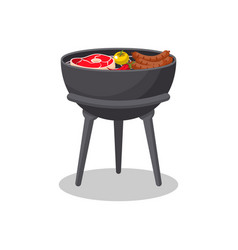 Tripod barbecue grill with food isolated icon vector
