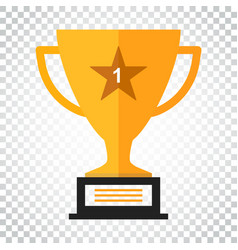 trophy cup flat icon simple winner symbol gold on vector image