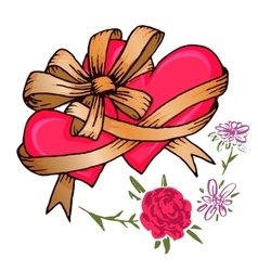 Two hearts tied with a ribbon bow and flowers vector