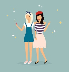 two hipster girlfriends taking a selfie vector image