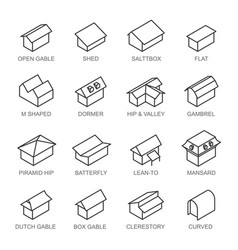 Types roofs icons set isolated from vector