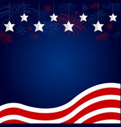 Usa flag with fireworks design on blue background vector