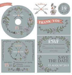 Vintage wedding template set with floral decor vector image