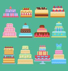 wedding flat cake pie sweets dessert bakery vector image