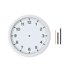 White clock face with hour minute second hands vector